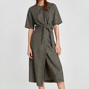 Zara Wool Blend Tie Waist Dress